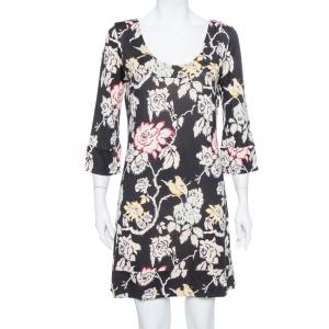 Diane von Furstenberg Black Floral Printed Silk Knit Shift Dress L - used