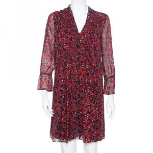 Diane von Furstenberg Red & Navy Blue Silk Pintuck Detail Kourtini Shift Dress M - used