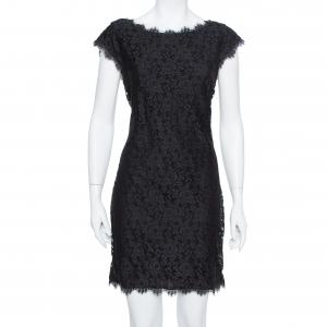 Diane Von Furstenberg Black Lace Barbara Shift Dress L - used