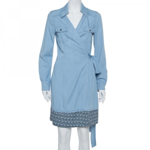Diane Von Furstenberg Blue Chambray Contrast Hem Detail Savion Wrap Dress M - used