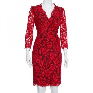 Diane Von Furstenberg Red Lace Scallop Detail Wrap Dress M - used