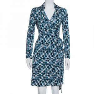 Diane Von Furstenberg Blue Silk Knit New Jeanne Two Wrap Dress M - used