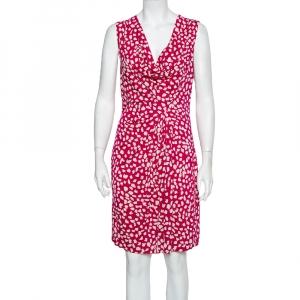 Diane Von Furstenberg Pink Printed Knit Draped Neo Dress L - used
