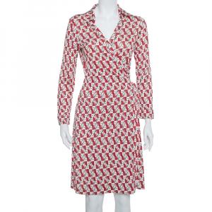 Diane Von Furstenberg Cream & Red Knit Logo Printed New Jeanne Wrap Dress L - used
