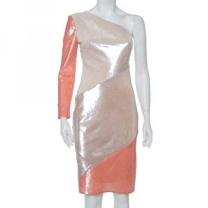 Diane Von Furstenberg Color Block Sequin Embellished Silk One Shoulder Midi Dress XS - used