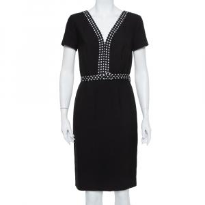 Diane Von Furstenberg Black Knit Contrast Trim Detail Belted Maisie Dress M - used