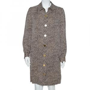 Diane Von Furstenberg Monochrome Silk Button Front New Tunis Dress L - used