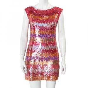 Diane Von Furstenberg Multicolor Sequin Embellished Sleeveless Shift Petite Fit Manaus Dress S used