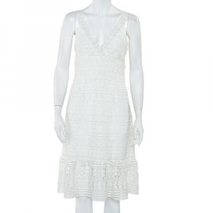 Diane Von Furstenberg White Guipure Lace Plunge Neck Tiana Dress M - used