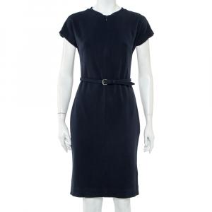 Diane von Furstenberg Navy Blue Belted Maizah Dress M - used