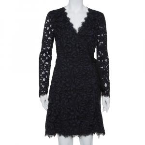 Diane Von Furstenberg Navy Blue Lace Shaelyn Wrap Dress M - used