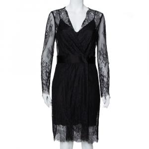 Diane Von Furstenberg Black Lace Faux Wrap Midi Dress L - used