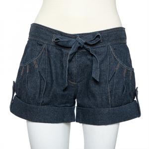 Diane Von Furstenberg Navy Blue Denim Waist Tie Detail Pearl Shorts S