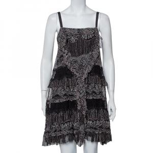 Diane Von Furstenberg Black Printed Silk Lace Trim Detail Tiered Taleen Mini Dress M - used