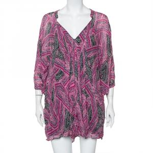 فستان ديان فون فرستنبيرغ فليوريت قصير حرير مطبوع وردي مقاس صغير جداً (اكس سمول)