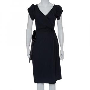 Diane von Furstenberg Black Wool Satin Trim Detail Antoinette Wrap Dress M - used
