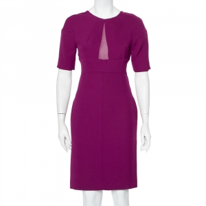 Diane Von Furstenberg Purple Crepe Paneled Wilma Midi Dress S - used