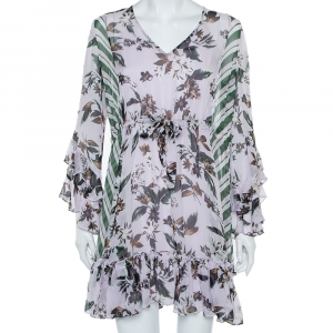 Diane Von Furstenberg Multicolor Silk Ruffled Oversized Mini Dress XS - used