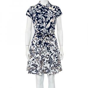 Diane Von Furstenberg Navy Blue Printed Cotton Belted Scarlet Mini Dress M - used