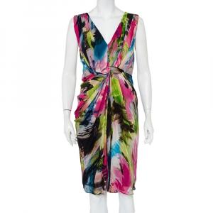 Diane Von Furstenberg Multicolor Silk Draped Sleeveless Weslie Dress M - used