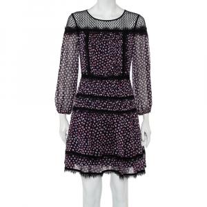 Diane Von Furstenberg Navy Blue Printed Silk & Tulle Paneled Jamie Dress S - used