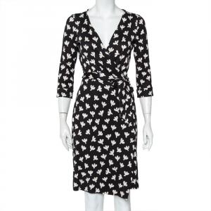 Diane von Furstenberg Monochrome Printed Silk Knit New Julian Wrap Dress M - used