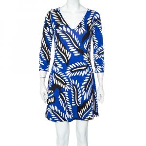 Diane Von Furstenberg Blue Printed Silk Knit Kaden Dress M - used