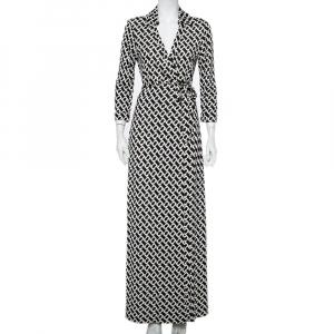 Diane Von Furstenberg Monochrome Silk Abigail Maxi Wrap Dress L - used