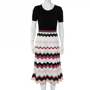 Diane Von Furstenberg Black Knit Chevron Pattern Paneled Gaia Midi Dress M - used