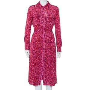 Diane Von Furstenberg Pink Floral Printed Mesh Button Front Belted Midi Dress M - used