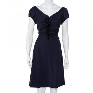 Diane Von Furstenberg Navy Blue Ruffle Detail Samaya Dress L - used