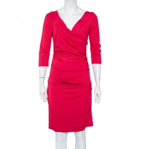 Diane von Furstenberg Fuschia Rose Pink Knit Ruched Bentley Dress M - used