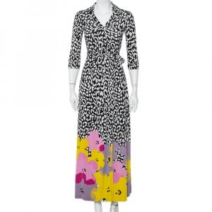 Diane von Furstenberg Andy Warhol Multicolor Silk Knit Maxi Wrap Dress S - used
