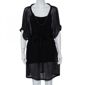 Diane Von Furstenberg Black Silk Chiffon Sol Dress XL - used