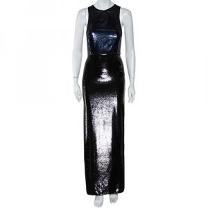 Diane Von Furstenberg Navy Blue & Black Sequined Silk Sheer Back Detail Gown XS - used