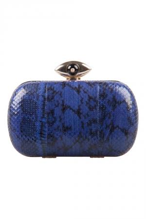 Diane Von Furstenberg Blue/Black Snakeskin Evil Eye Minaudiere Chain Clutch