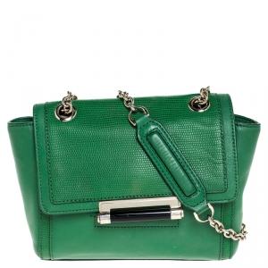 Diane Von Furstenberg Green Lizard Effect Leather Mini 440 Shoulder Bag