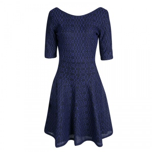Dior Purple and Black Textured Knit Fit and Flare Dress L