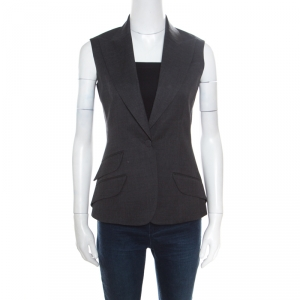 Christian Dior Grey Wool Gabardine Single Button Sleeveless Blazer S