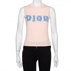 Christian Dior Salmon Pink Denim Logo Printed Tank Top M