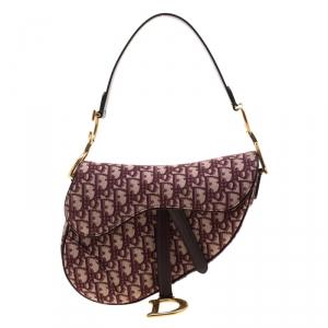 Dior Maroon Canvas and Leather Mini Saddle Bag