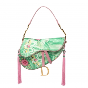 Dior Multicolor Printed Silk Limited Edition 0459 Koi Saddle Bag
