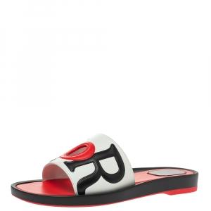 Dior Tri Color Leather Marina Flat Slides Size 39