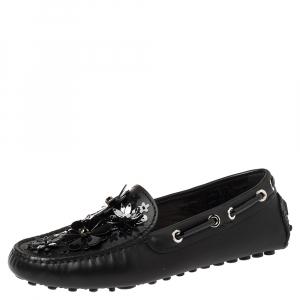 Dior Black Leather Drive Me Floral Embellished Loafers Size 35