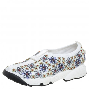 Dior White Mesh Fusion Embellished Low Top Sneakers Size 36