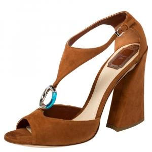 Dior Brown Suede Escale Block Heel T Strap Sandals Size 41 -