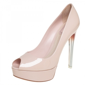 Dior Beige Patent Leather Miss Dior Peep Toe Platform Pumps Size 37.5