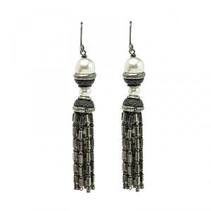 Dior Faux Pearl Silver Tone Tassel Dangle Hook Earrings