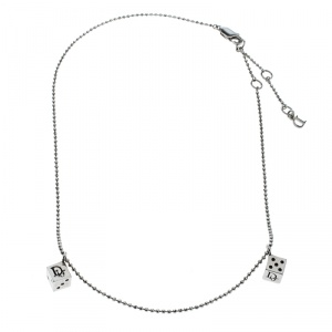Dior Dice Charms Silver Tone Chain Necklace