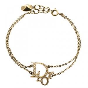 Dior Oblique Crystal Gold Tone Bracelet 20 cm